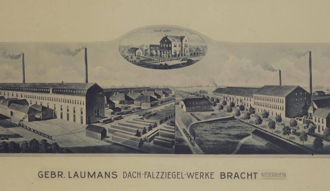 Gründe für Laumans - Historische Darstellung der Gebr. Laumans Dach-Falzziegel-Werke in Bracht