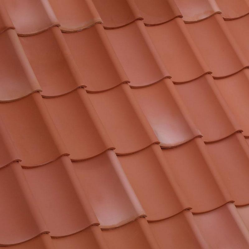 Laumans Dachziegel HOHLPFANNE in Farbe Nr. 111 – rot-bunt