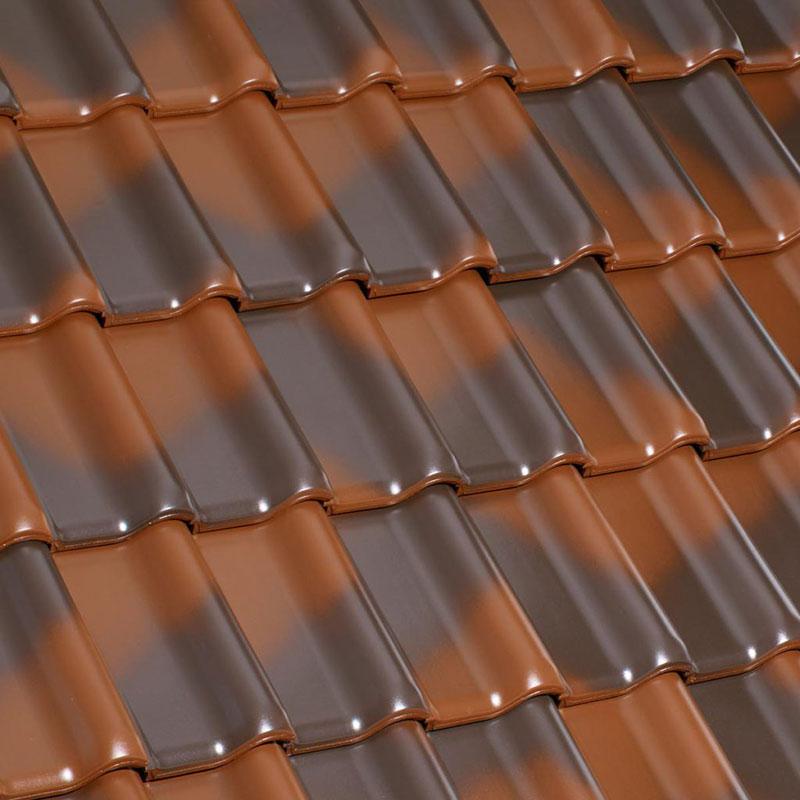 Ziegelfarben - Dachziegeloberfläche: Laumans Dachziegel TIEFA XLTOP® in Farbe Nr. 18 – rustique
