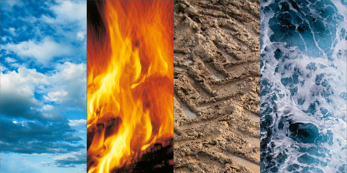 Umweltschonend - Natur und Umwelt: Die 4 Elemente Luft, Feuer, Erde und Wasser